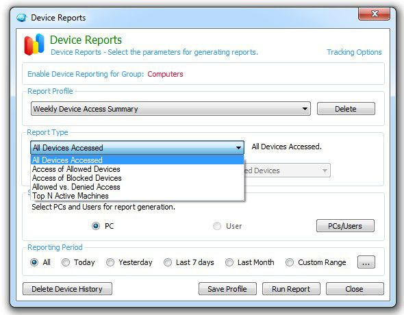 Security endpoints by reviewing device reports.